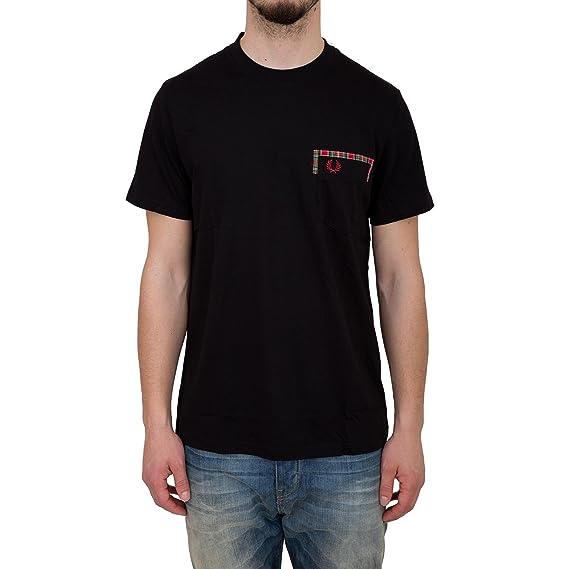 Fred Perry Borde de Cuadros Escoceses Bolsillo Camiseta en Negro ...