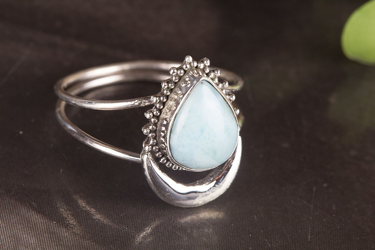 Larimar Ring, Sterling Silver Ring, Dominican Larimar Ring, Caribbean Larimar Ring, Half Moon Shape, Two Band Ring, Tear Drop Ring, Honor Gift, Cabochon Ring, Hypoallergenic Stone, US All Size Ring