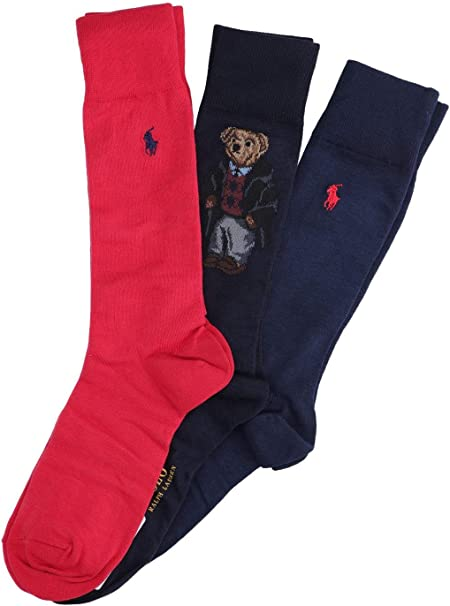 Polo Ralph Lauren Pack calcetines Bear Rojo Hombre: Amazon.es ...