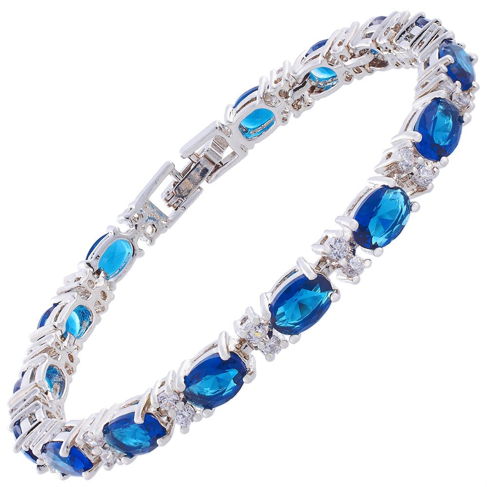RIZILIA Oval Cut Simulated Blue Sapphire and White Cubic Zirconia 18K White gold Plated Tennis Bracelet, 7''