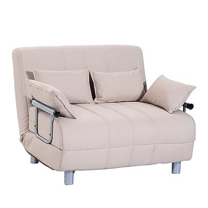 HOMCOM Sofa Cama Plegable Invitados 122x82x81cm Beige Cama 2 ...