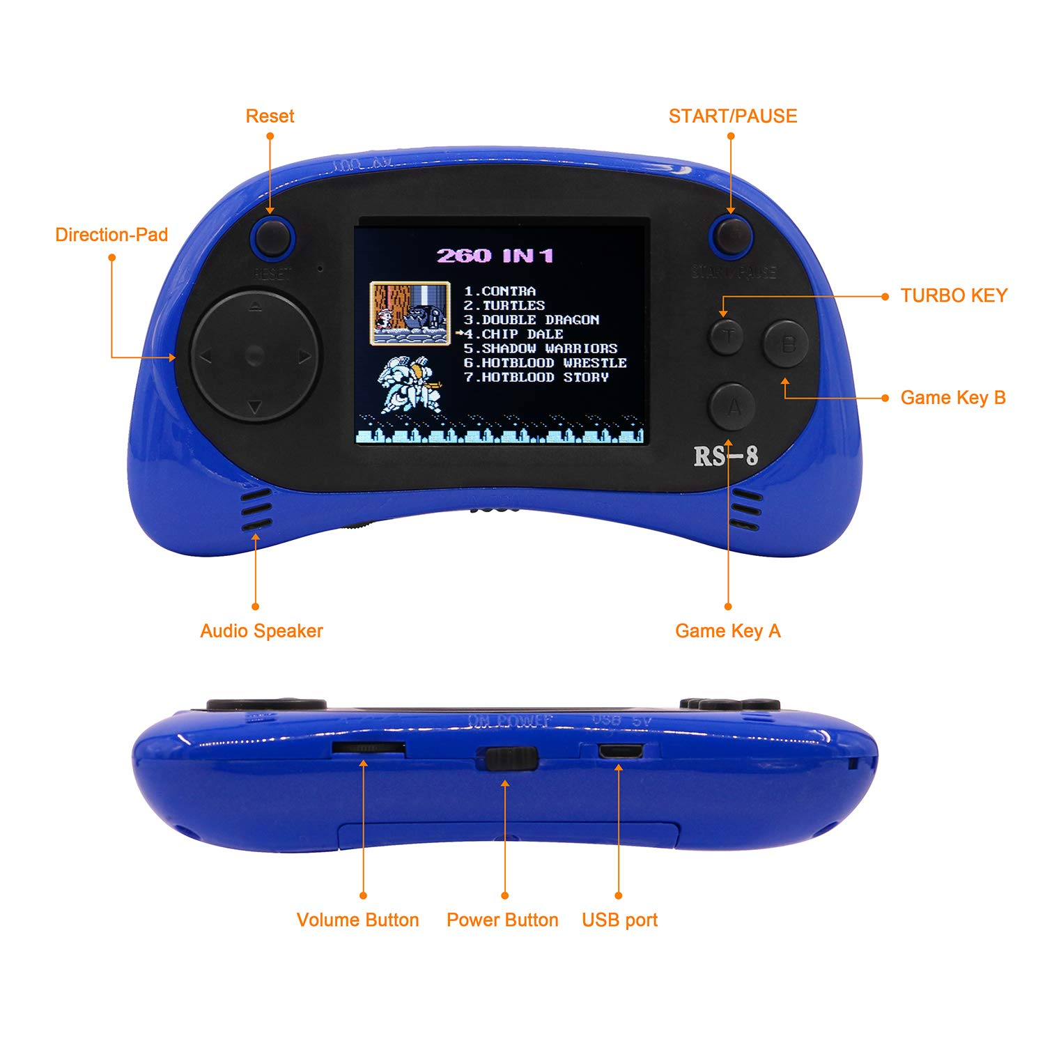 E-MODS GAMING USB Charging Retro Game Console Portable 260 Built-in Handheld Game 2.5\