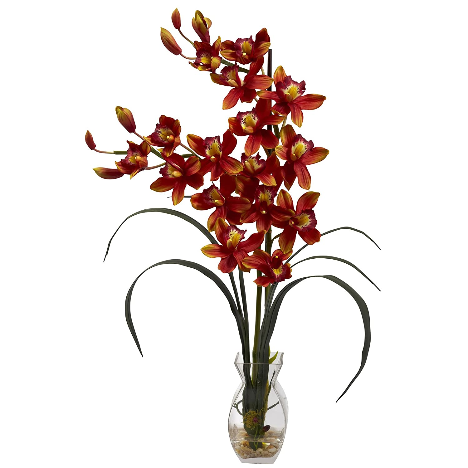 Nearly Natural 1293-BG Cymbidium Orchid with Vase Arrangement, Burgundy
