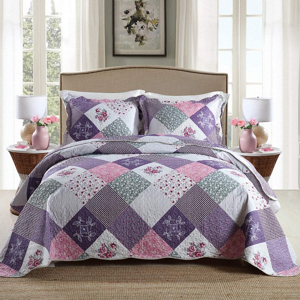 Homcosan Quilt Be super welcome New life Bedspreads Sets King 96x108 inches Revers Size