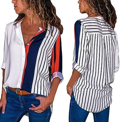 6c87ac58 Snowfoller Womens Color Block Striped Shirt Casual Asymmetric Design Long  Sleeve Button Down T-Shirts