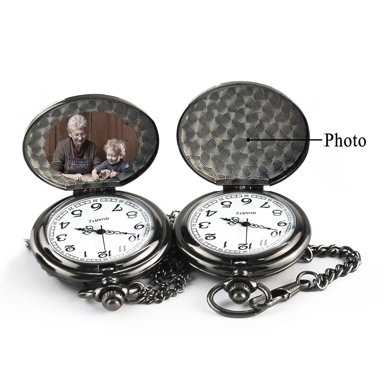 Pocket Watch ''To My GrandSon - Love Grandma(Love Grandpa)''Necklace Chain From Grandparents to Grandson Gifts with Black Gift Box By Qise (Love GrandMa Black) by Qise (Image #2)