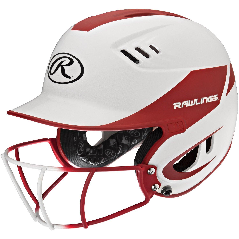 Rawlings Sporting Goods Junior Velo Sized Softball Helmet, White Scarlet