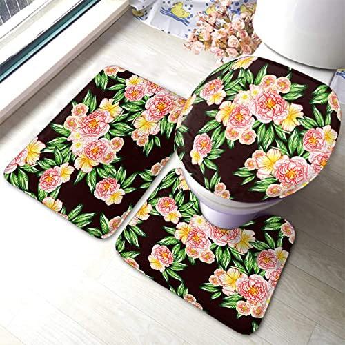 EKOBLA Painting Flowers Bathroom Mat Bright Colors Feminine Fresh Leaf Garden Elegant Decorative Durable Bathroom Rug Set 3 Pieces Anti-Skid Pads Toilet Seat Lid Cover Mat Polyester