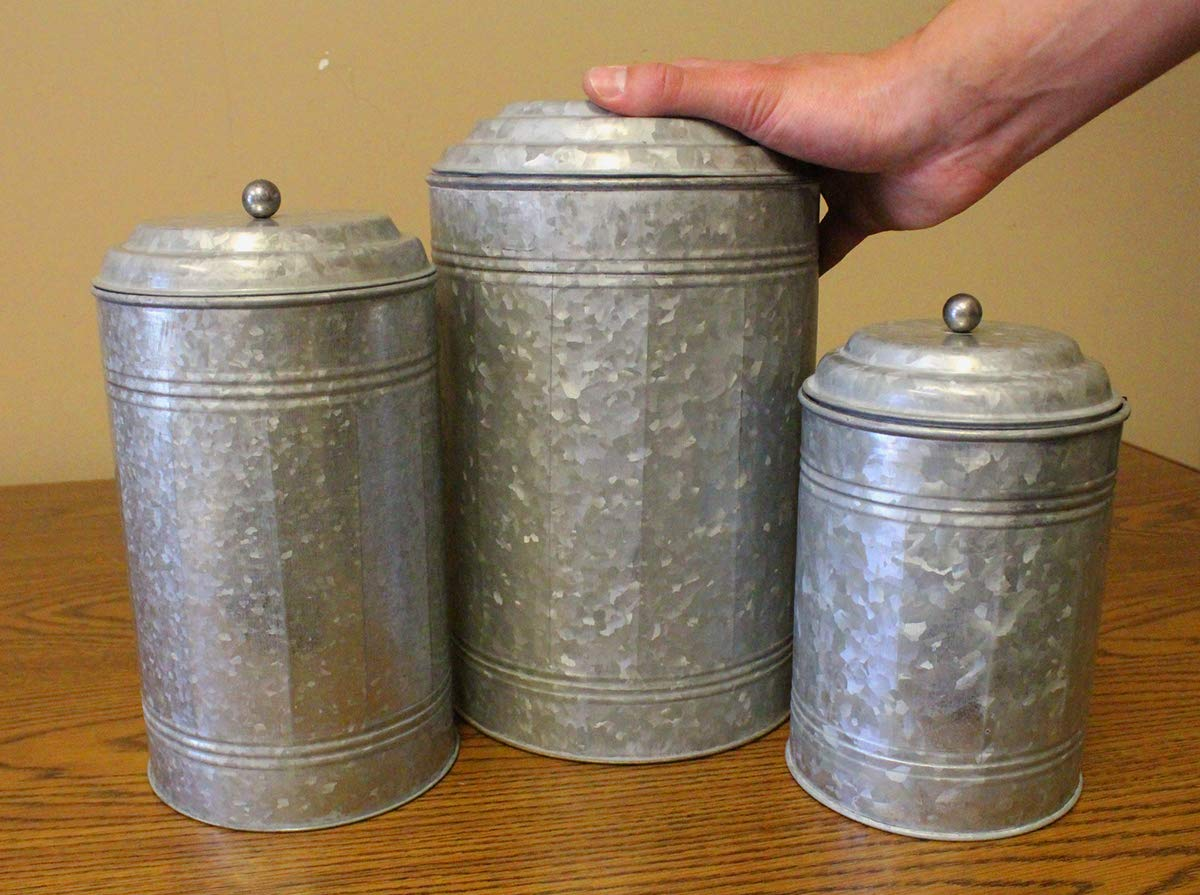 Well Pack Box Galvanized Canister Set Farmhouse Rustic Collection for Kitchen 12 and 9 and 7 Tall