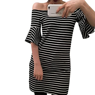Lisli Women Sexy Off Shoulder Short Sleeve Stripped T Shirt Bodycon Party  Mini Dress (Black 5d6dd21e1