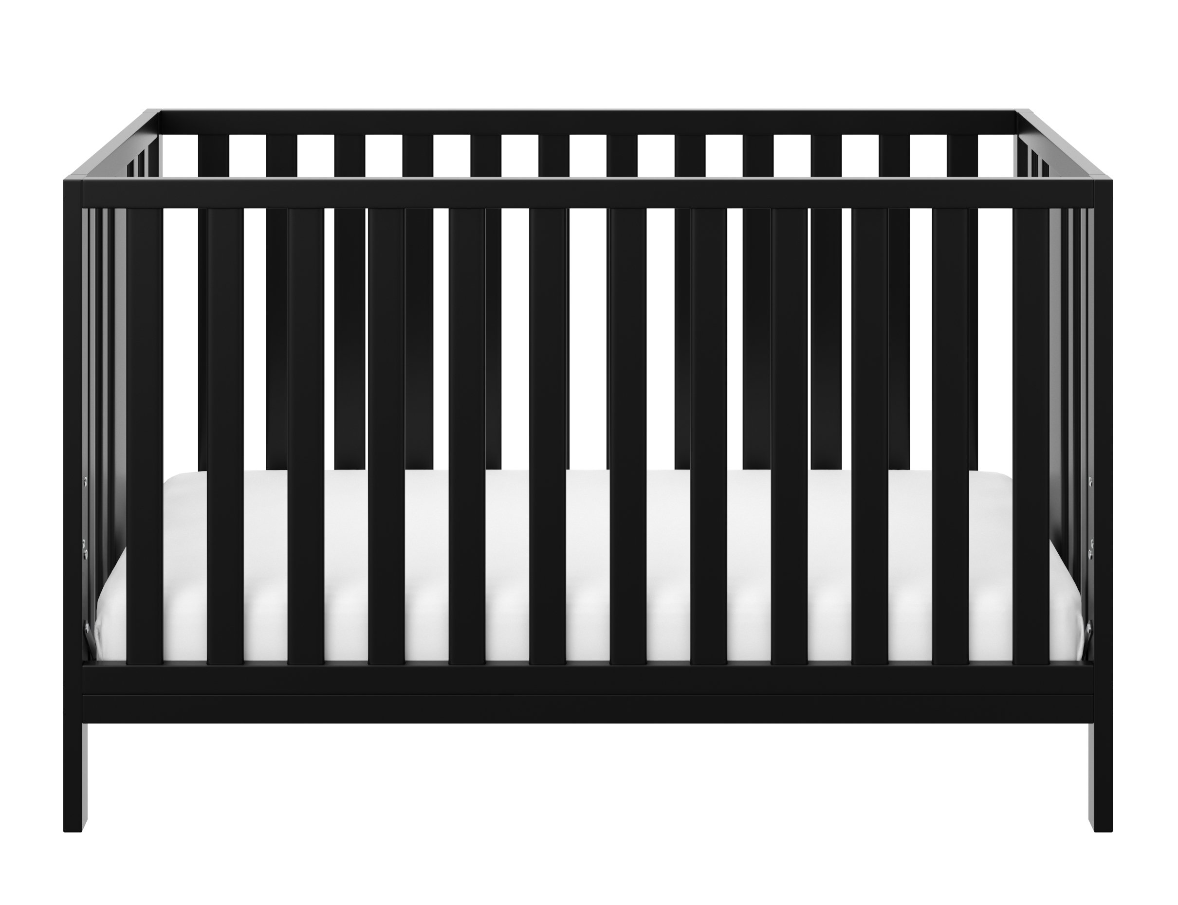 Storkcraft Pacific Convertible Crib, Black Easily Converts to Toddler Bed, Day Bed or Full Bed, 3 Position Adjustable Height Mattress