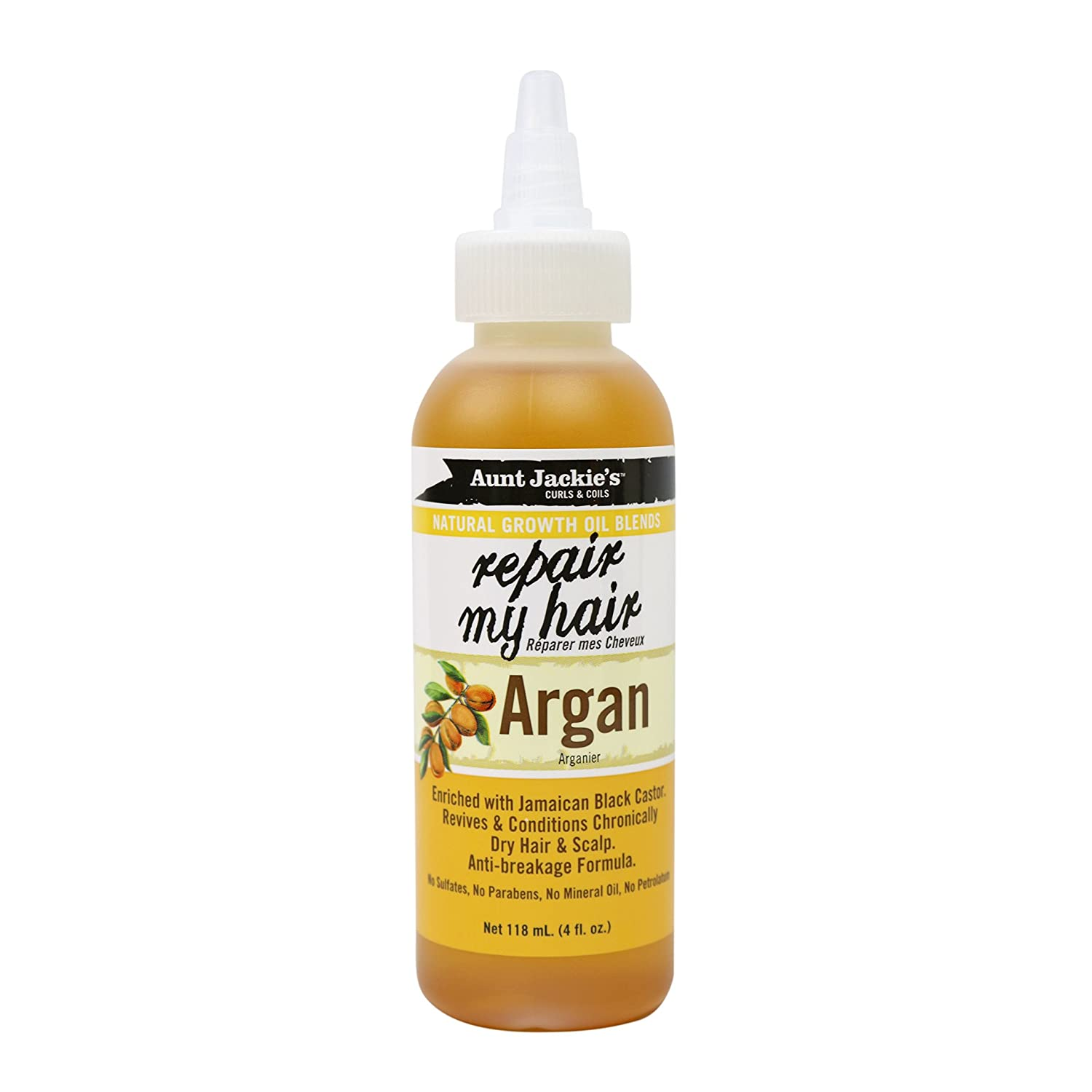 Aunt Jackie's Natural Growth Oil Blends Repair My Hair, Enriched with Jamaican Black Castor and Argan Oil, Revives and Conditions Chronically Dry Hair and Scalp, 4 Ounce Twist Spout Bottle