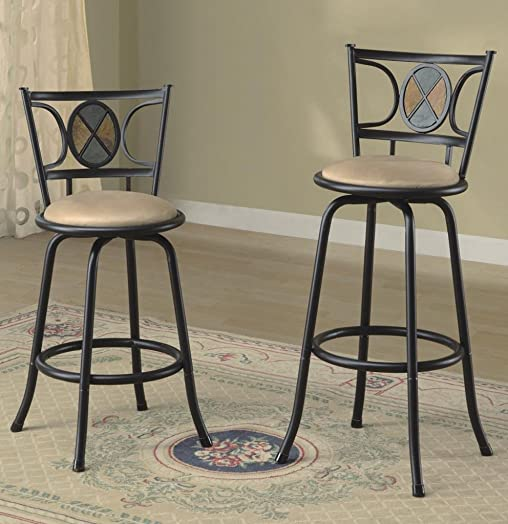 Legacy Decor Set of 2 Black Finish, Mosaic Design, Swivel Barstool Adjustable Height 24 or 29