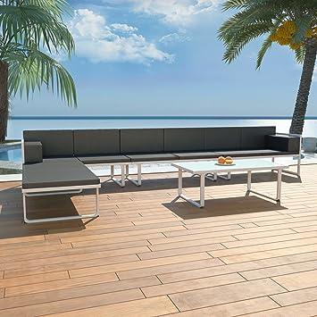 WEILANDEAL Sofas para Jardin 17 Piezas textilene y Aluminio ...