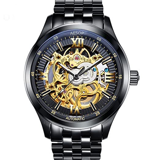 0919c3a7c Men's Automatic Waterproof Mechanical Skeleton Watch Stainless Steel Strap  Black: Amazon.co.uk: Watches