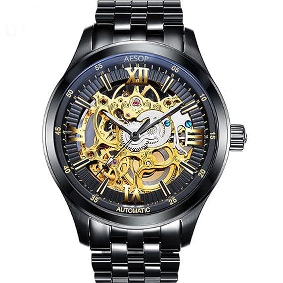 Moda Hombre de pulsera impermeable mecánico para hombre esqueleto reloj de acero inoxidable con esfera de oro: Amazon.es: Relojes