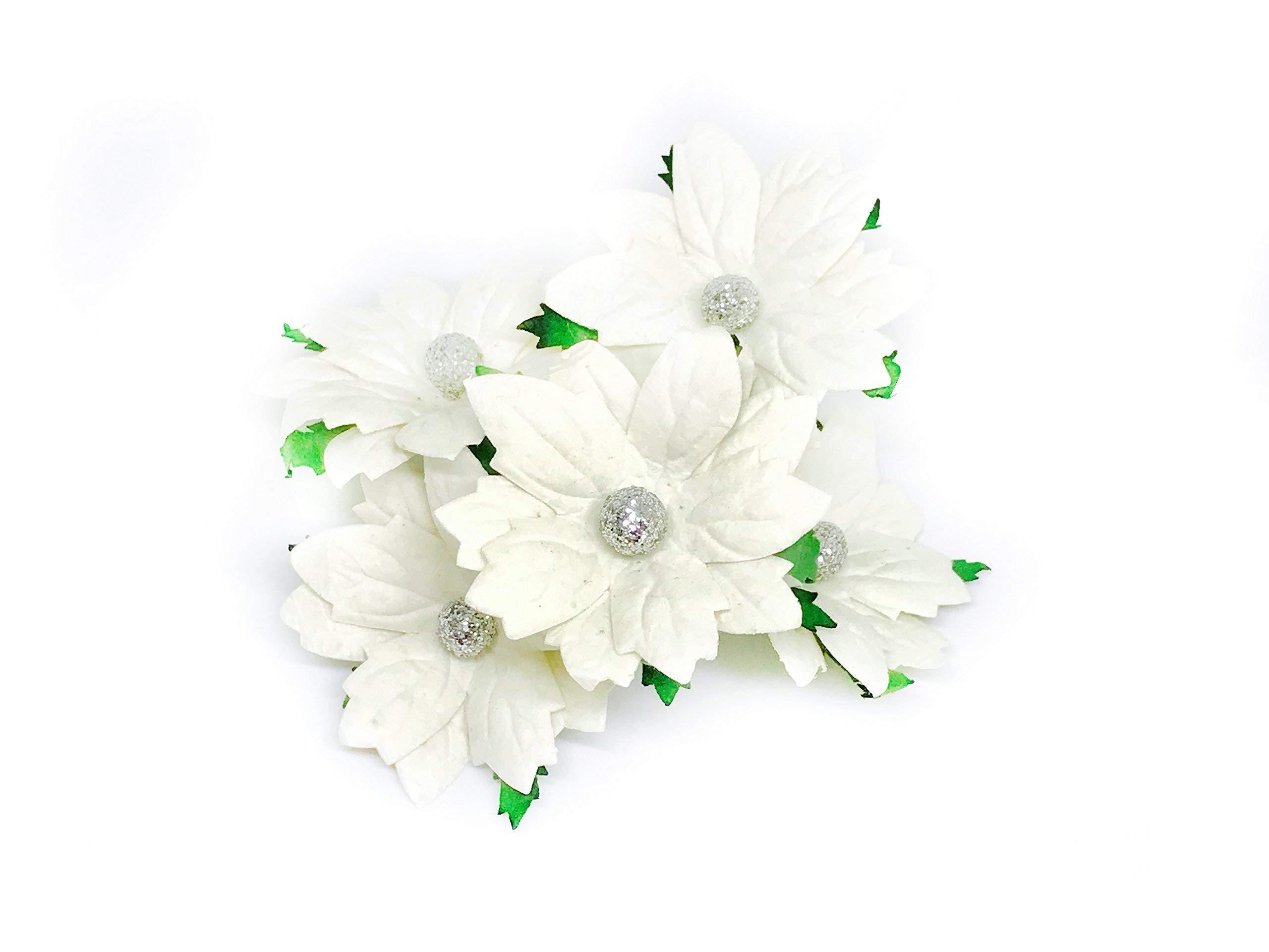 2-White-Poinsettia-Paper-Flowers-Artificial-Poinsettias-Flowers-Paper-Poinsettia-Christmas-Flowers-Fake-Poinsettia-Flowers-Mulberry-Paper-Flowers-10-Pieces