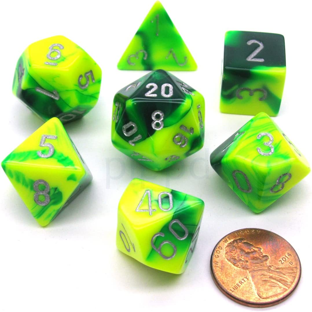 NEW RPG Dice Set of 7 Translucent Yellow D4 D6 D8 D10 D12 D20 D00-90