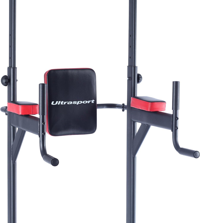Ultrasport Power Tower Estación Multifuncional de Entrenamiento, Torre de Musculación y Fitness, Dip Station, Barra de Dominadas, Asas para Flexiones, ...