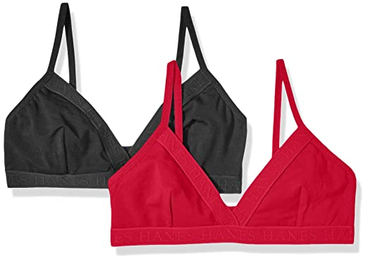 47ba946006 Hanes Ultimate Women s Casual Comfort Logo Wirefree Triangle Bra 2-Pack