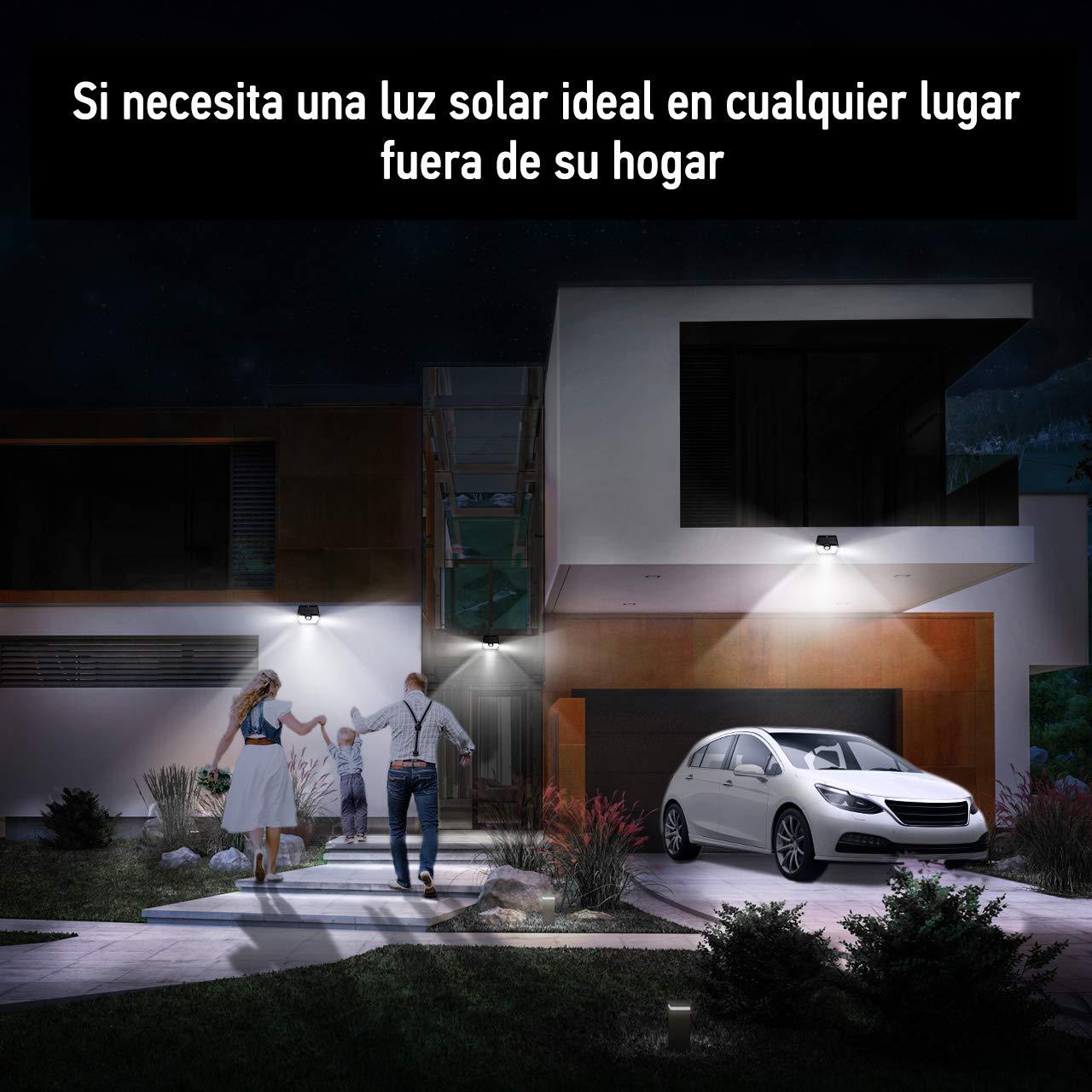 Mpow Luz Solar de Exterior Garaje Patio L/ámpara Solar 20 LED 1 Pieza 270/º Gran Angular de Iluminaci/ón con 120/° Sensor de Movimiento Impermeable Foco Solar de Pared para Jard/ín Camino