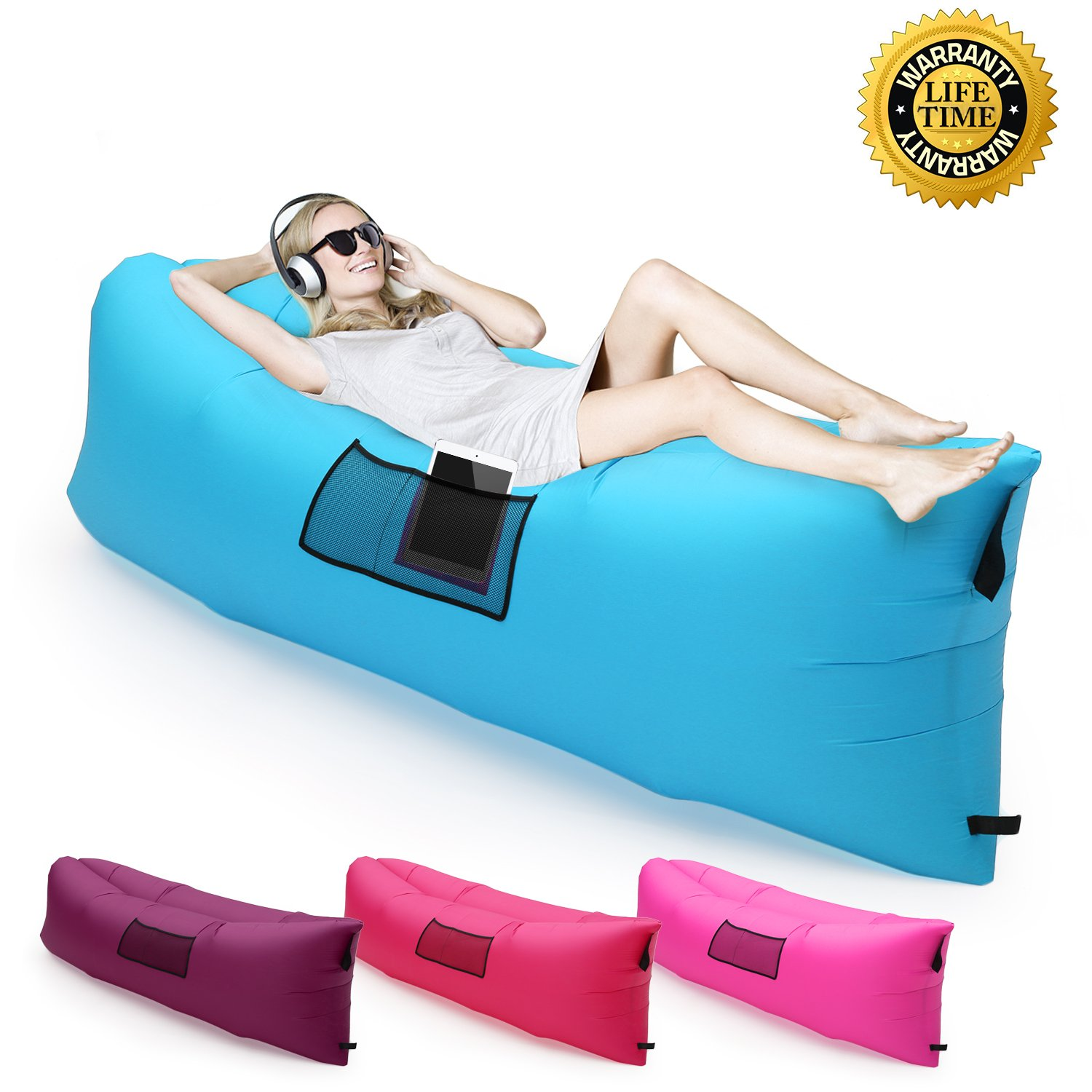Amazon.com: Inflatable Lounger with Carry Bag Ultra-light Portable ...