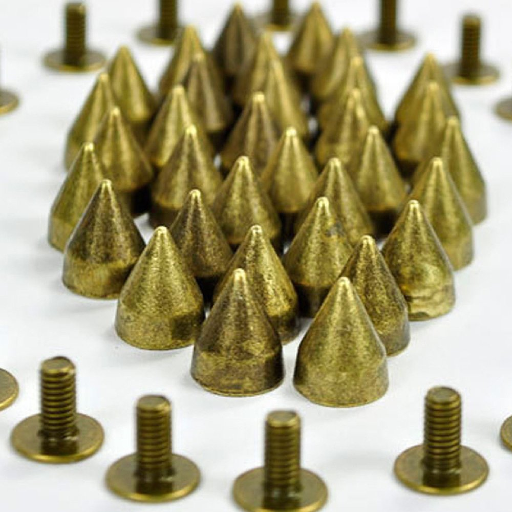 RUBYCA 100 sets 9MM Black Gunmetal Color Bullet Cone Spike Stud Metal Screw Back DIY Leather-craft