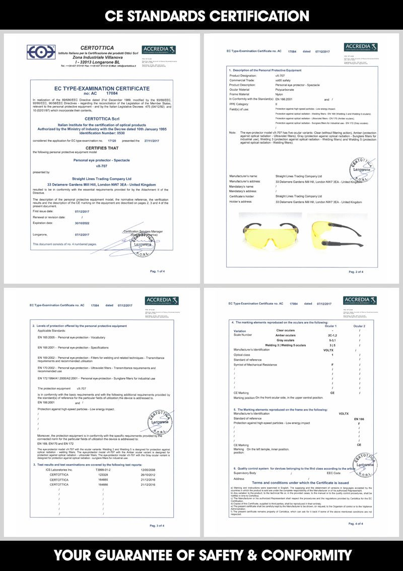 certifi/ées CE EN166F - avec Bandeau et Insert en Mousse voltX Quad 4 in 1 Dioptrie +2,5, Transparent Lunettes de s/écurit/é de Lecture /à Verres enti/èrement grossissants