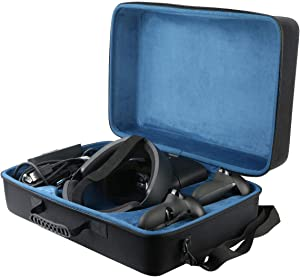 co2crea Hard Travel Case Replacement for Oculus Rift S PC-Powered VR Gaming Headset (Black Case + Inner Blue Box)