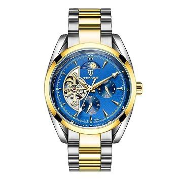 Sharplace TEVISE Reloj Automático Universal para Ocasión Oficial Negocio Oficina Deporte - Oro y Azul: Amazon.es: Juguetes y juegos