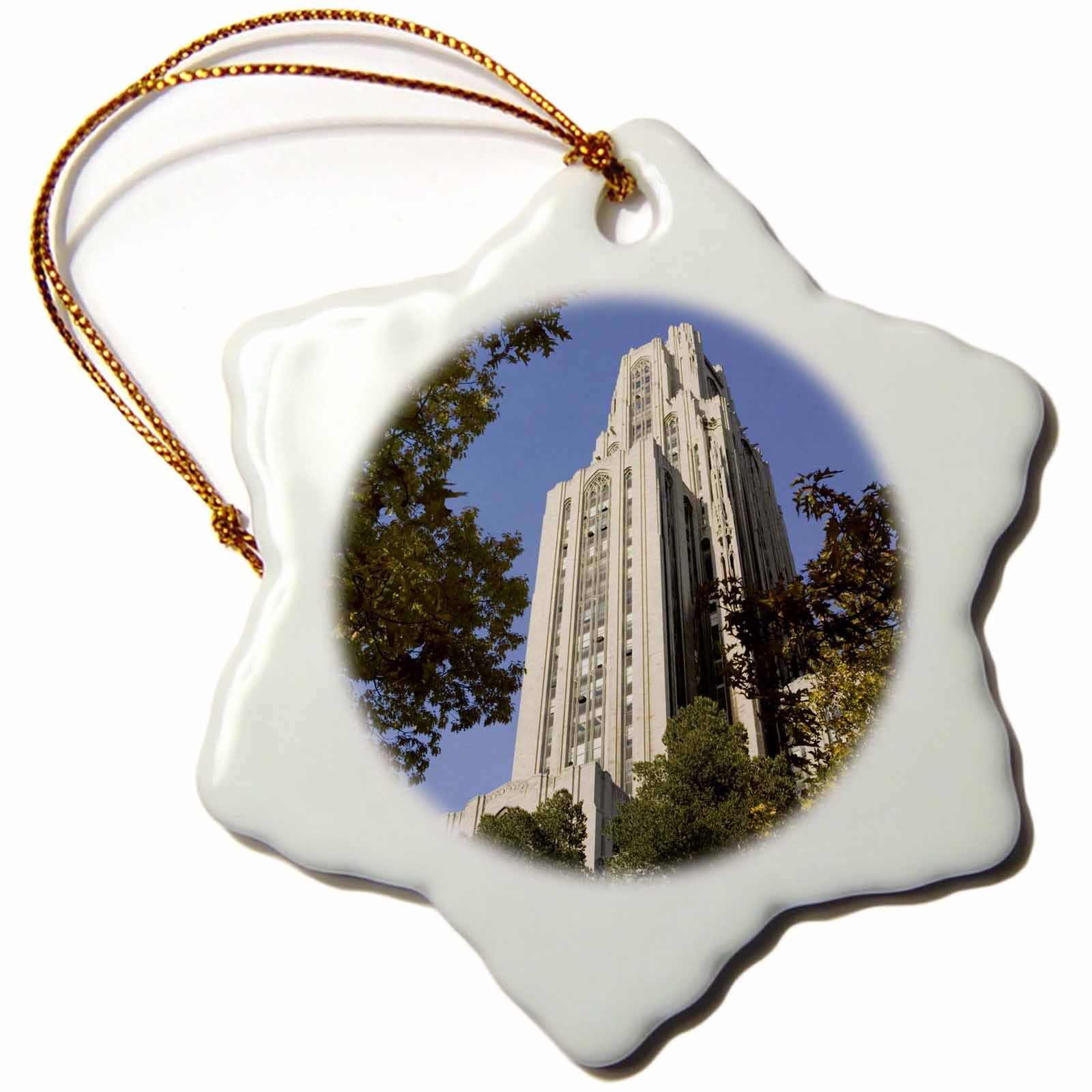 3dRose orn_94228_1 Pennsylvania, Pittsburg, Cathedral of Learning US39 WBI0051 Walter Bibikow Snowflake Porcelain Ornament, 3-Inch