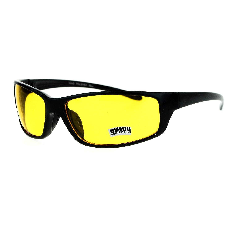 6d9dc5ba39d Amazon.com  Mens Driving Yellow Driving Lens Warp Around Sport Biker  Sunglasses Black  Clothing