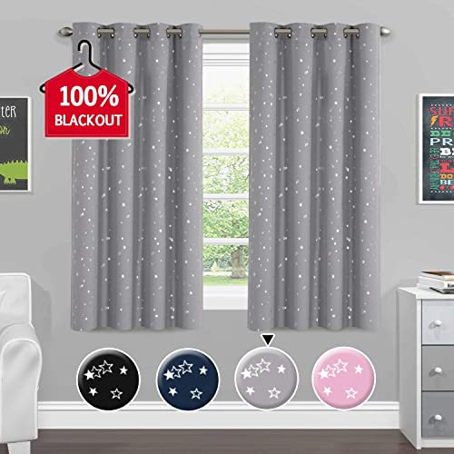 H.VERSAILTEX Blackout Curtains Kids Room Thermal Insulated Twinkle Stars Printed Curtain Draperies for Boys Girls, Sleep-Enhancing Magic Grommet Drapes, 2 Panels, Each 52×63-Inch, Gray