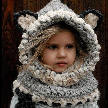 Invierno Bebé Niños Niñas Chicos Caliente Fox Animal Sombreros Tejido Coif  Capucha Bufanda Bufandas Para El 43ea1227edd