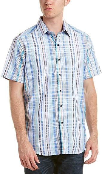 Robert Graham Men/'s Short Sleeve Aero Theater Plaid Shirt Classic Fit Medium