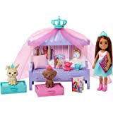 Barbie Princess Adventure Chelsea Princess Storytime Playset, with Chelsea Doll, Canopy Bed, 2 Pets and Accessories, Gift for