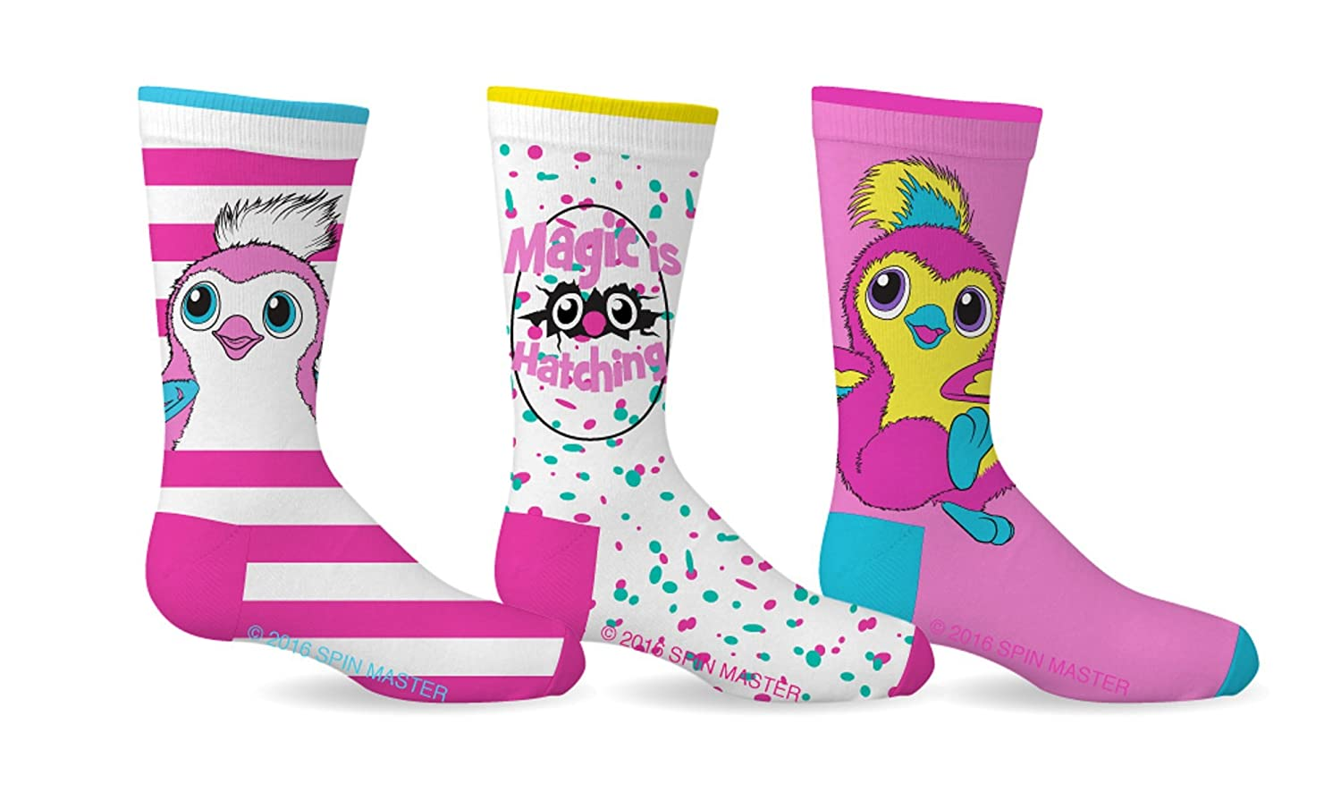 Girl's Hatchimals Licensed 3-Pack Crew Socks