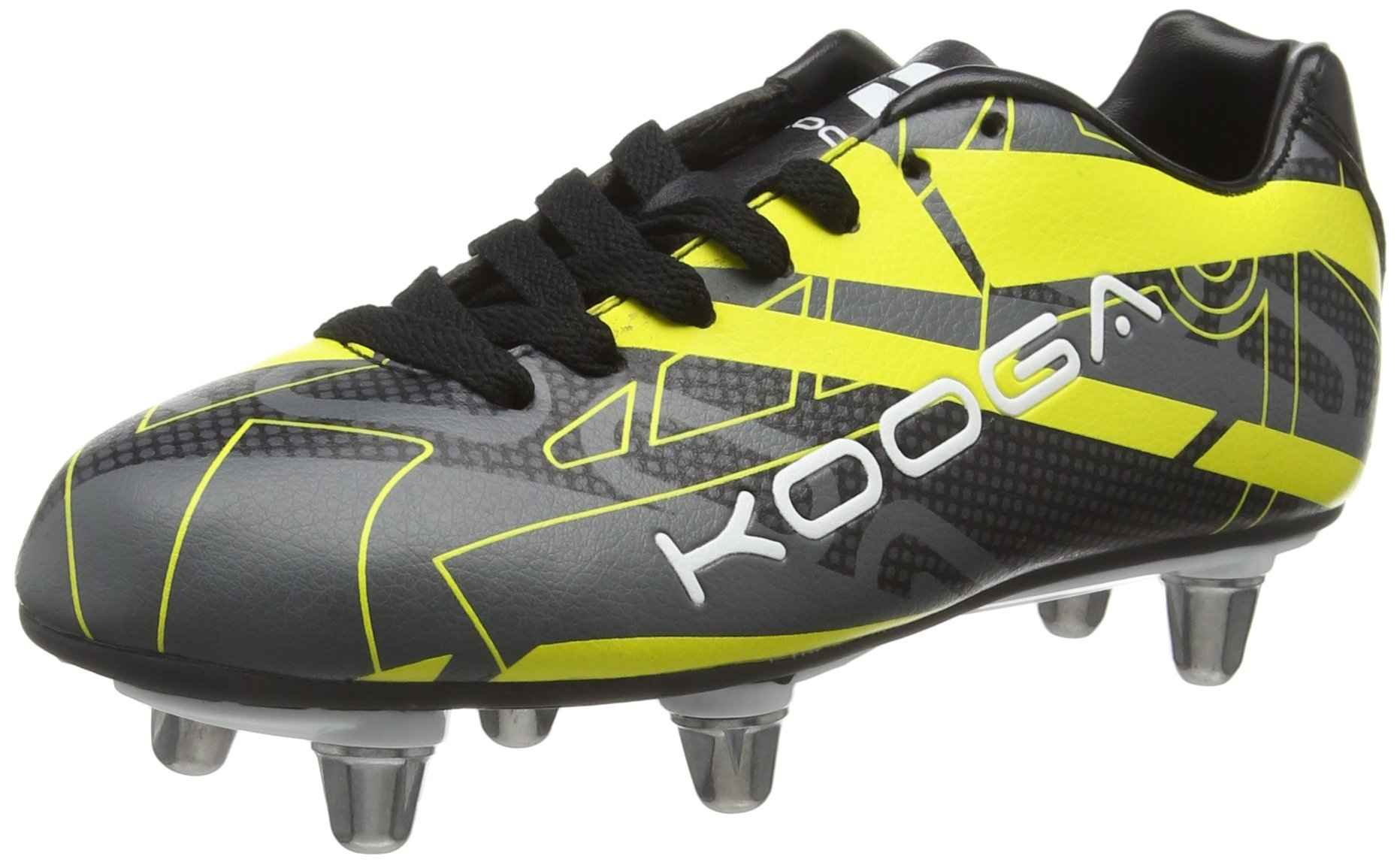 KooGa 2016 Evade Rugby Boots - Junior - Black/Yellow - UK 4