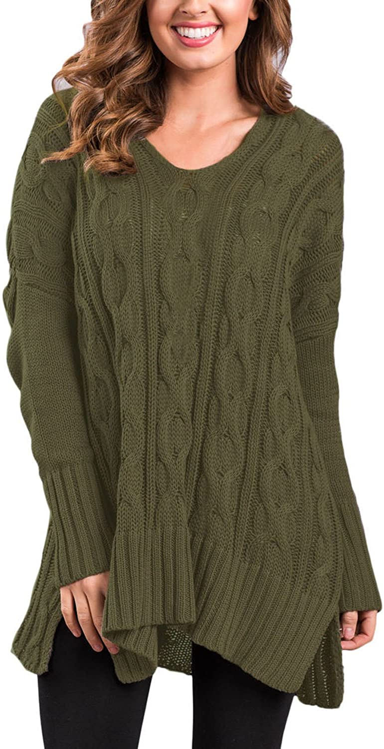 Sidefeel Women Casual V Neck Loose Fit Knit Sweater Pullover Top at Amazon  Women's Clothing store