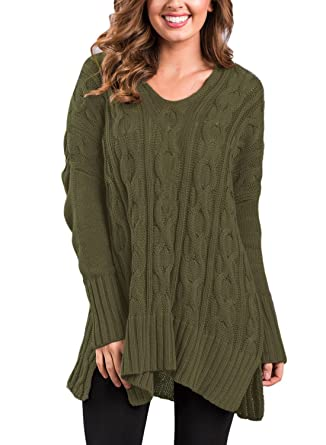 ff3da704a8 Sidefeel Women Casual V Neck Loose Fit Knit Sweater Pullover Top Small Amy  Green