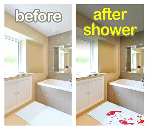 Bloody Bath Mat – Color Changing Sheet Turns Red When Wet – Make Your Own Bleeding Footprints That Disappear...