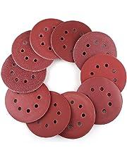 5 Inch 8-Hole Hook and Loop Sanding Discs by LotFancy - 100PCS 40 60 80 100 120 180 240 320 400 800 Grit Assorted Orbital Sander Round Sandpaper