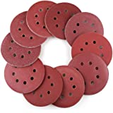 LotFancy 100PCS 5 Inch 8 Hole Sanding Discs - 40 60 80 100 120 180 240 320 400 800 Grit Assorted Sandpaper, Hook and Loop Ran