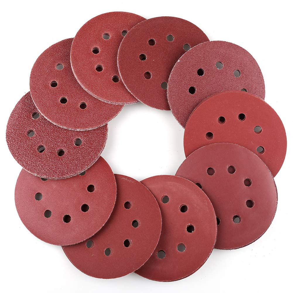 100PCS 5 Inch 8 Holes Sanding Discs - 40 60 80 100 120 180 240 320 400 800 Grit Assorted Sandpaper, Hook and Loop Random Orbital Sander Round Sand Paper by LotFancy 71yMge17GCL