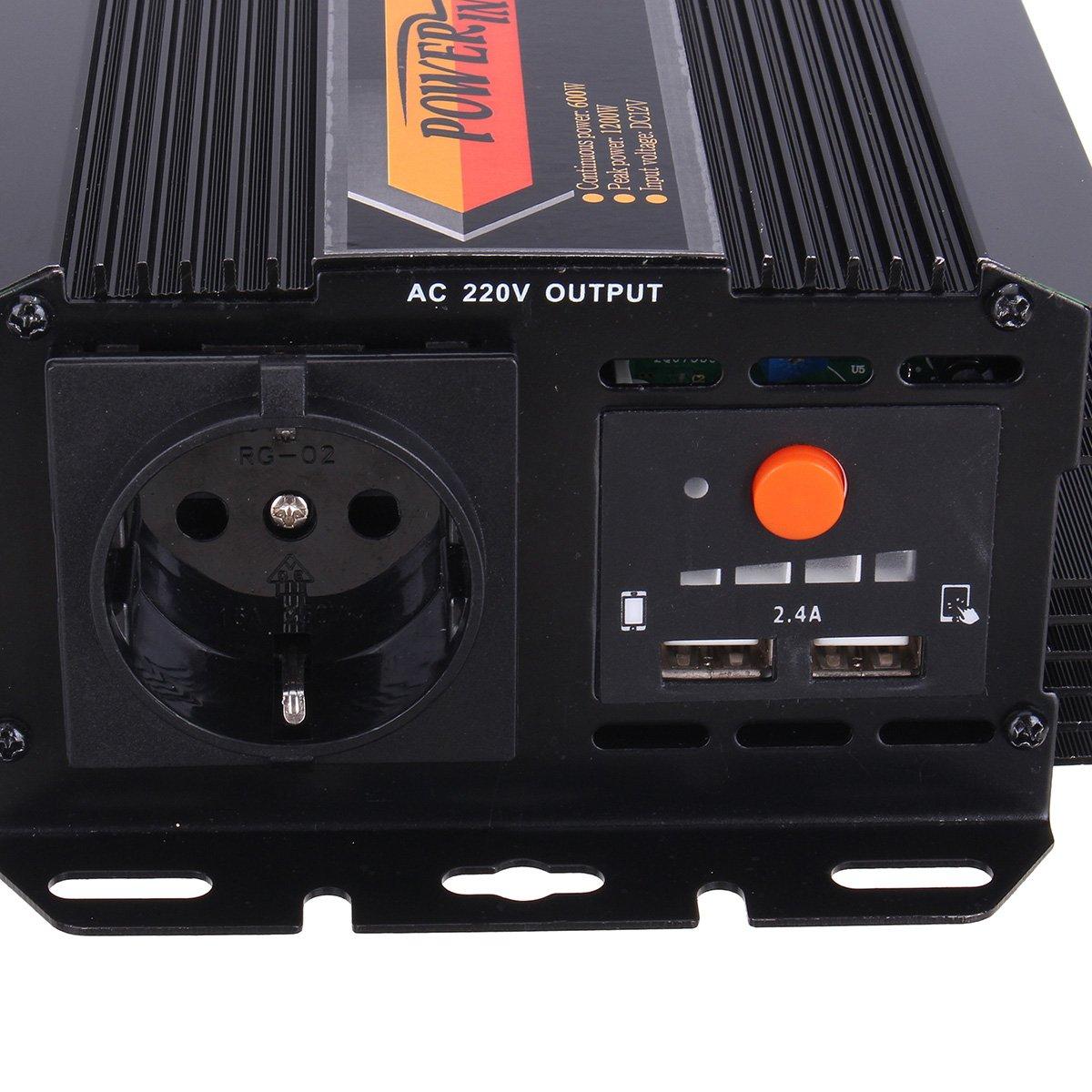 24V-220V Avec Sorties Num/ériques /À Double Port USB Onde Sinuso/ïdale Modifi/ée Par Onduleur Solaire 1200W 12