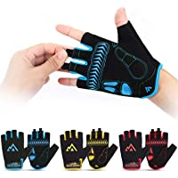 Brace Master Anti-Slip Cycling Gloves, Bicycle Gloves Leather Palm with Two Silicone Pads Comfortable and Breathable Fabric