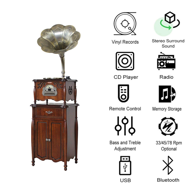GOM Tocadiscos con Radio de Altavoz, tornamesas de 3 ...