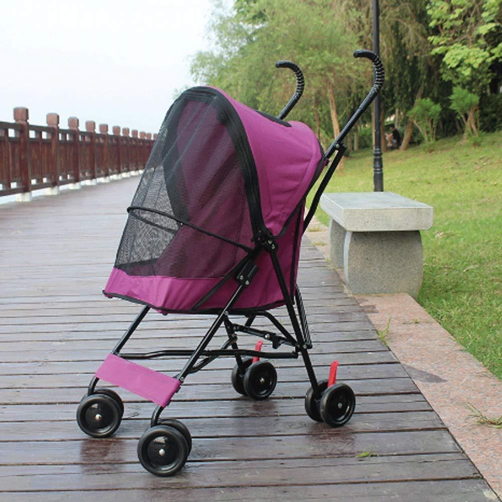 HAO SHOP Portatile Pieghevole Pieghevole Pieghevole Pieghevole di Viaggio del Passeggino della Gabbia del Cane del passeggiatore dell'animale Domestico di 4 Ruote (colore   viola) 79b5f6