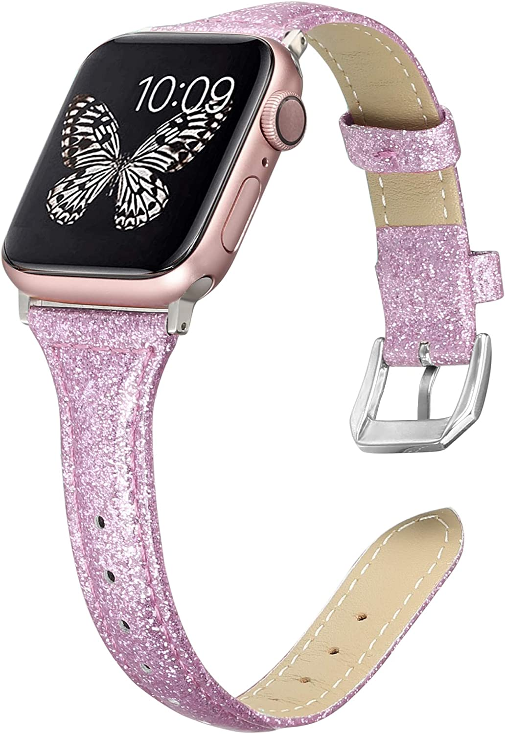 Secbolt Leather Bands Compatible with Apple Watch Band 38mm 40mm iWatch Series 6/5/4/3/2/1 SE, Soft Genuine Leather Wristband Strap Accessories Women, Glitter Lavender