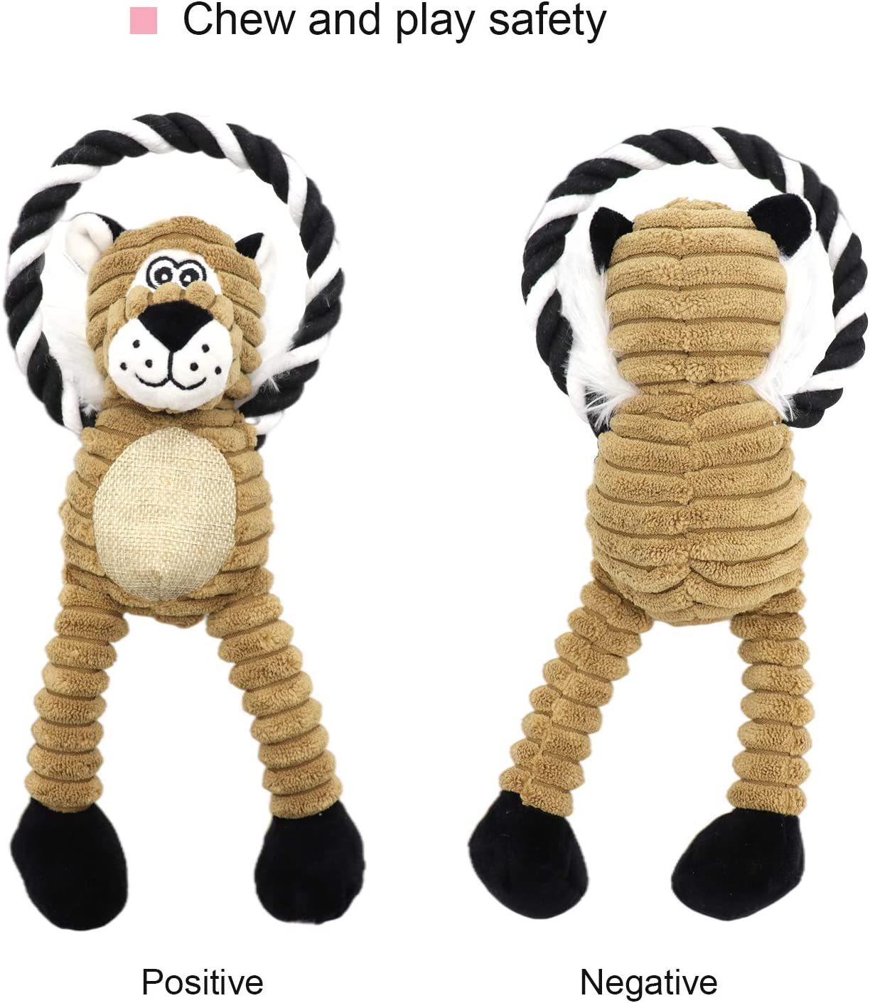 NASTRA Dog Toys for Puppy Lion Crinkle Squeaky Dog Chew Toys Squirrel Plush Dog Toy with Rope Knots for Small Dogs